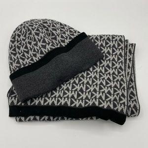 NEW Michael Kors Gray Monogrammed Scarf & Hat Set
